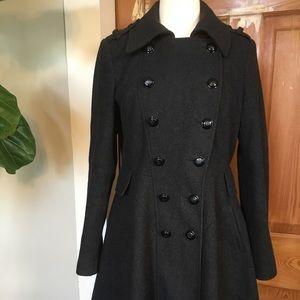 Via Spiga gray double breasted military coat 6